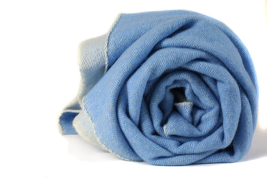 Reversible Cashmere Throw Blanket Blue and White