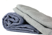 Navy White Diamond Weave Throw (Cashmere + Wool)