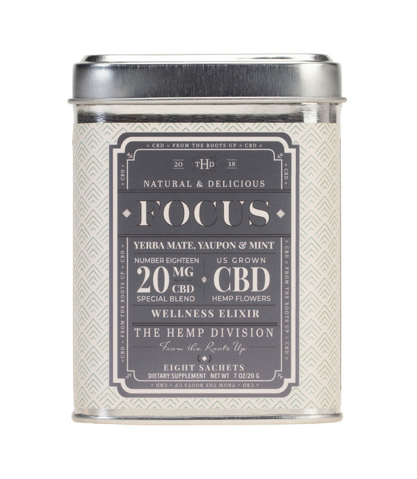 Focus 8 CT Sachets - Yerba Mate, Yaupon & Mint - 20 MG CBD
