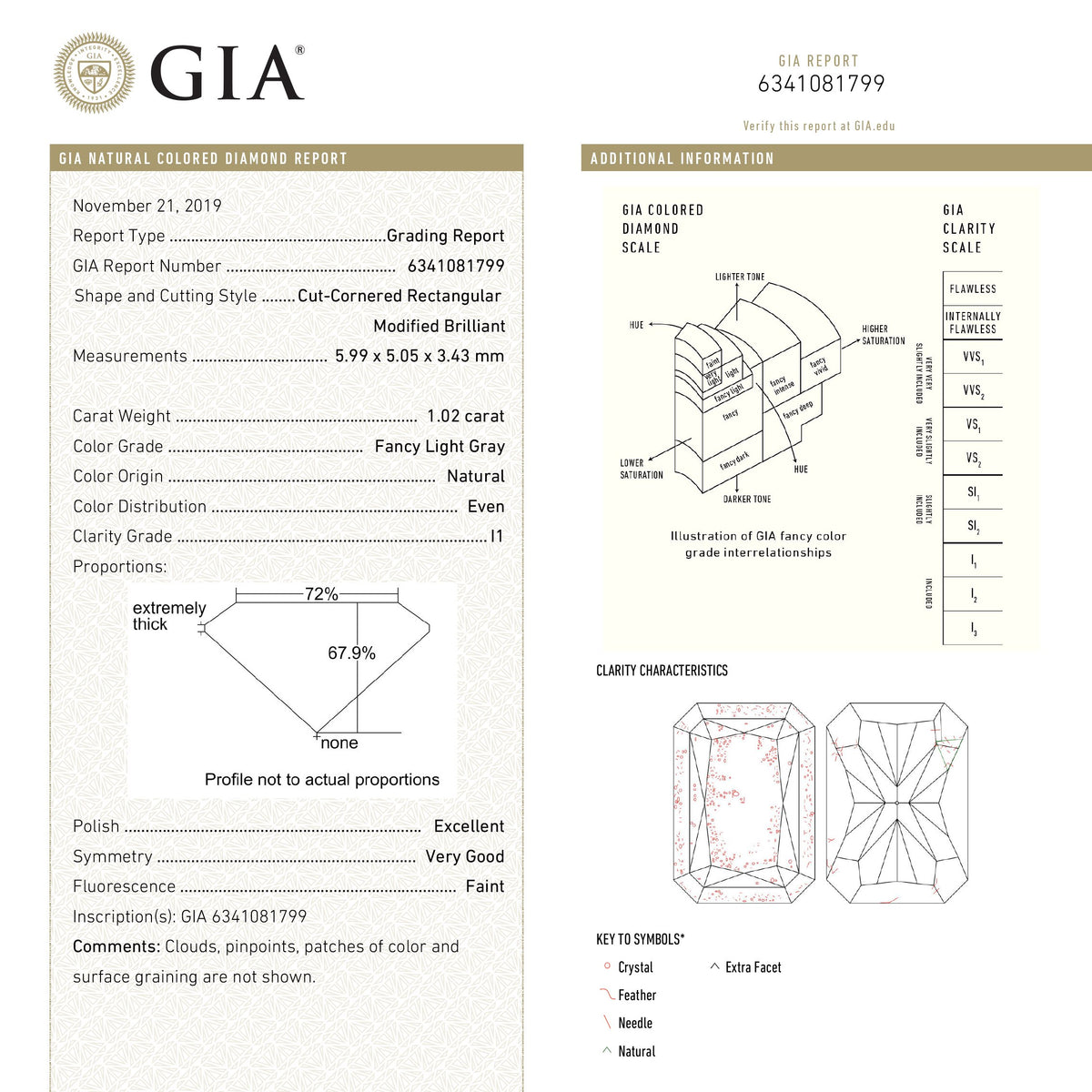 1.02ct 5.99x5.05x3.43mm GIA I1 Fancy Grey Radiant Cut 18439-01