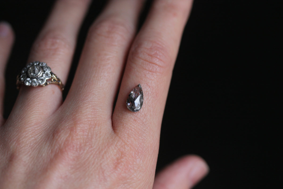 1.53 carat Salt and Pepper Rose Cut Pear Shaped Diamond