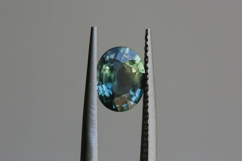 1.77 carat Teal Oval Sapphire