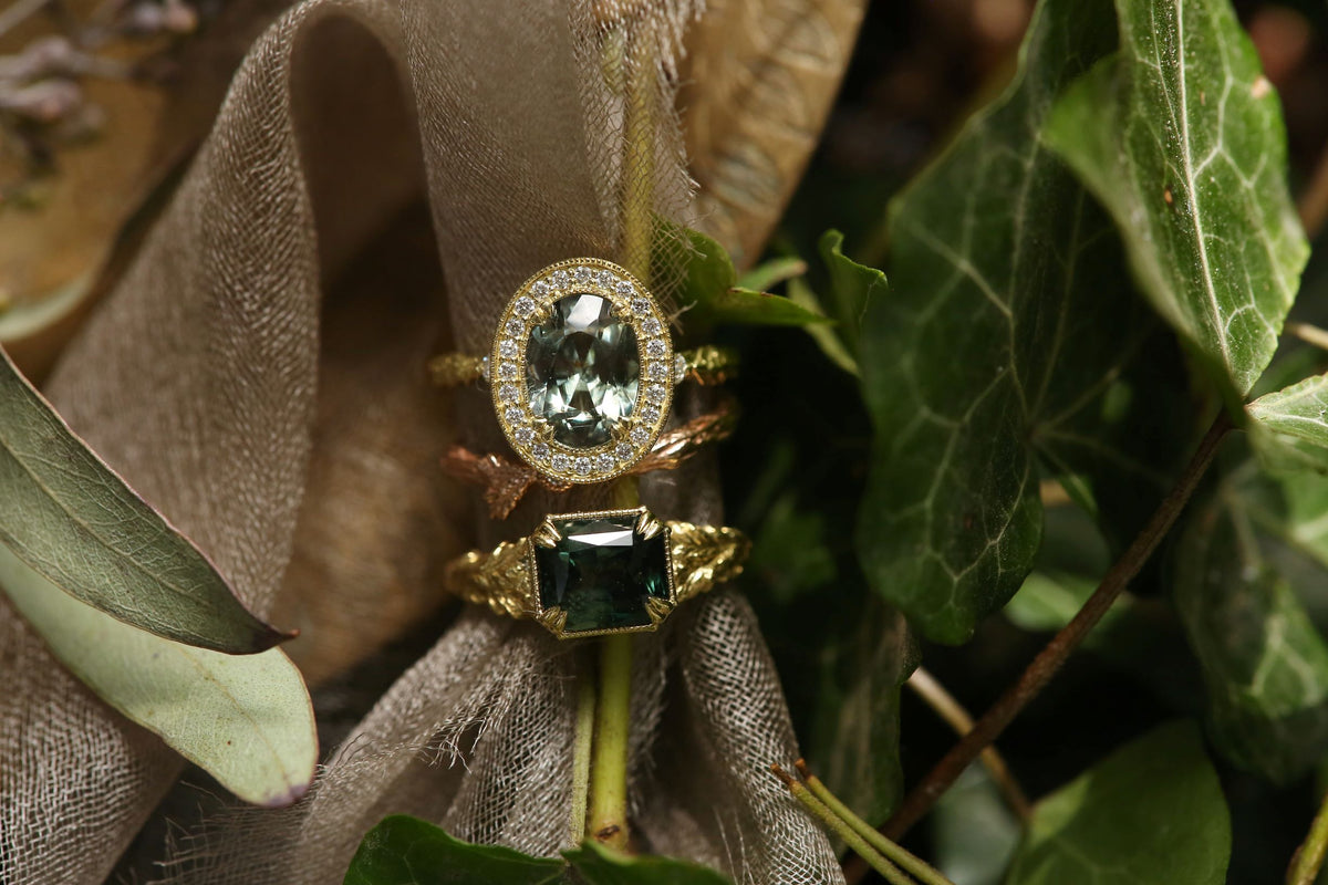 The Camelot Ring in Green Sapphire