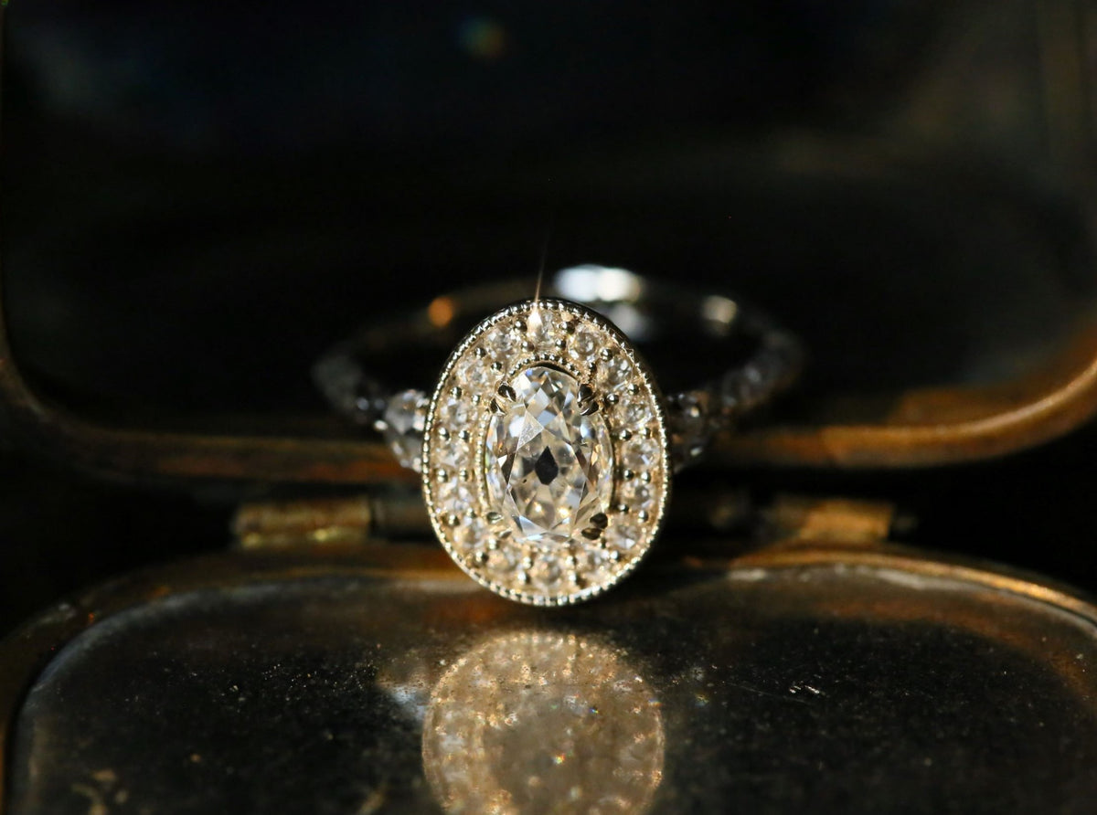 The Camelot Ring in Antique Old Mine Cut Diamond