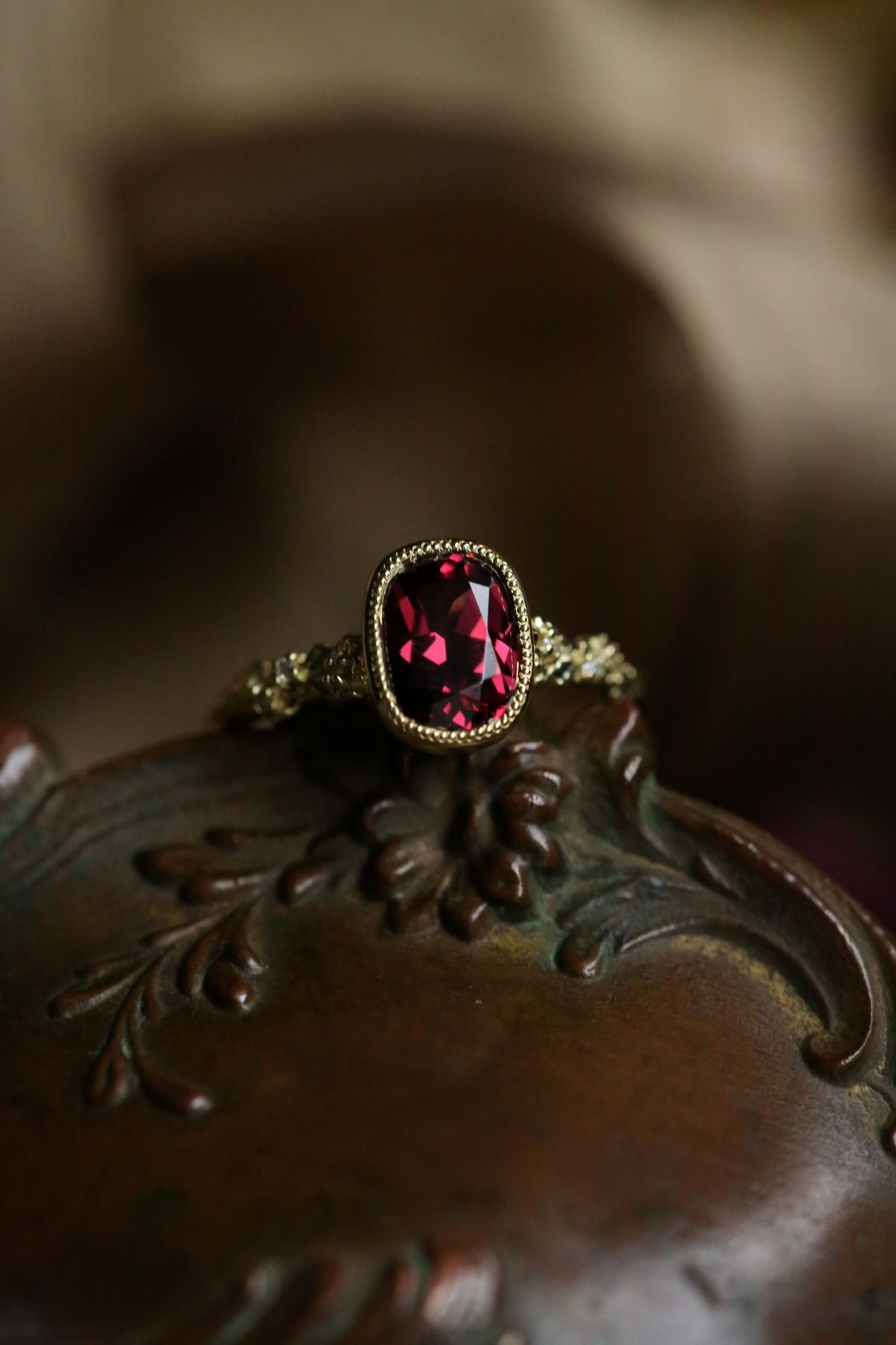 The Cocooned Fable Luxe Ring in Rhodolite Garnet