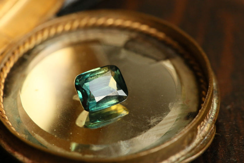 2.50 carat Teal Yellow Cushion Cut Sapphire