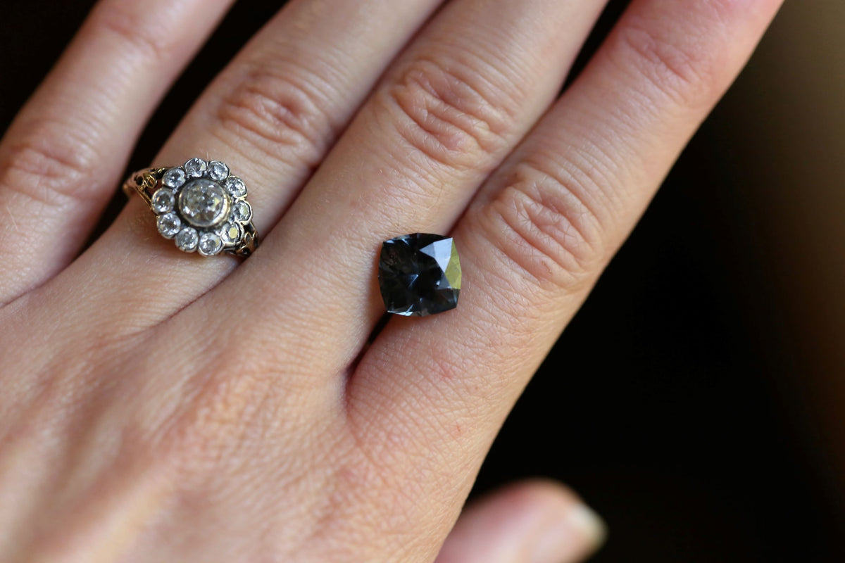 RESERVED 3.68 carats Swiss Cut Deep Grey Spinel
