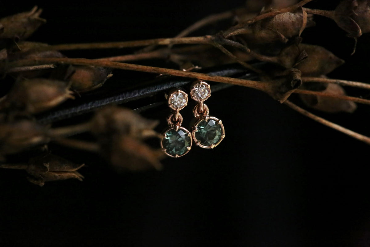 The Louisa Earrings in Teal Sapphire