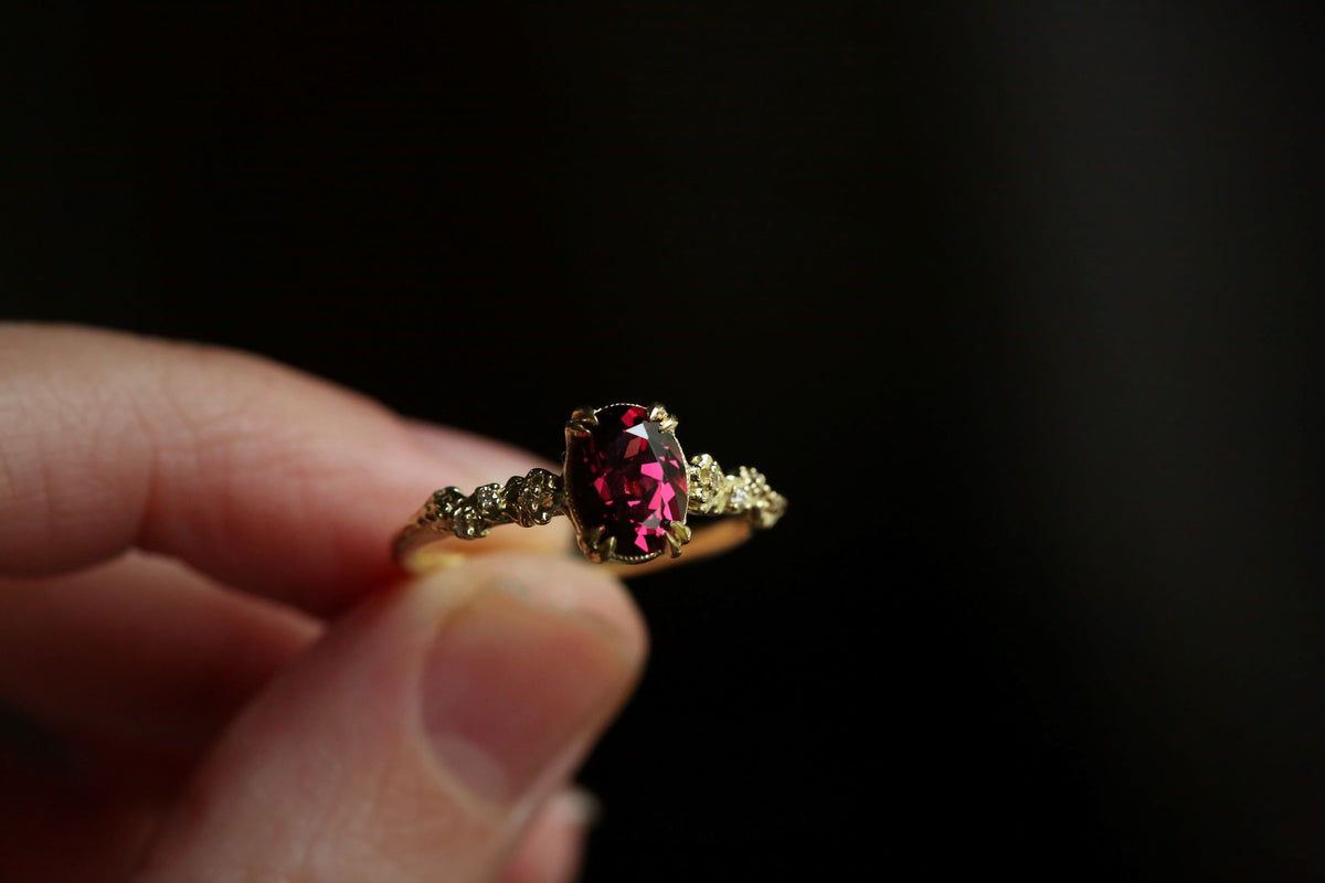 The Fable Luxe Ring in Rhodolite Garnet