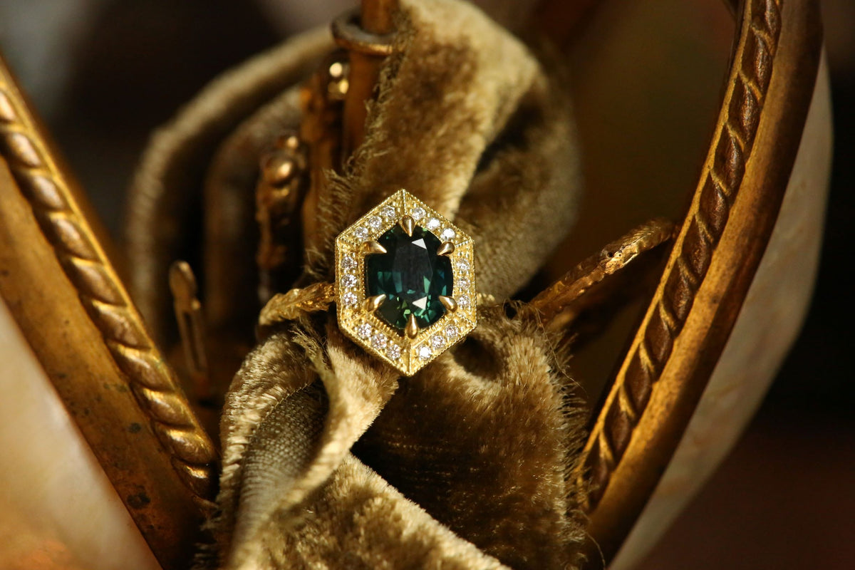 The Inverness Ring in Green Sapphire