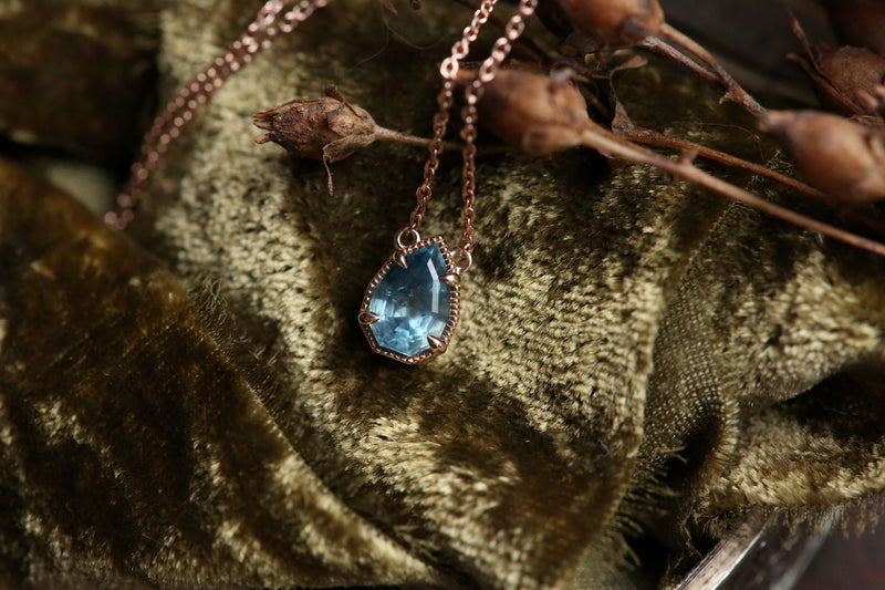 The Token Necklace in Montana Sapphire