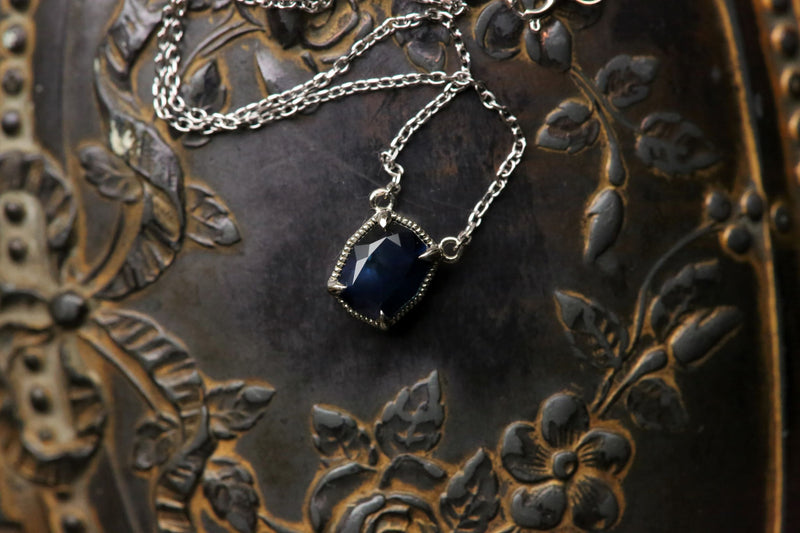 The Token Necklace in Dark Blue Montana Sapphire