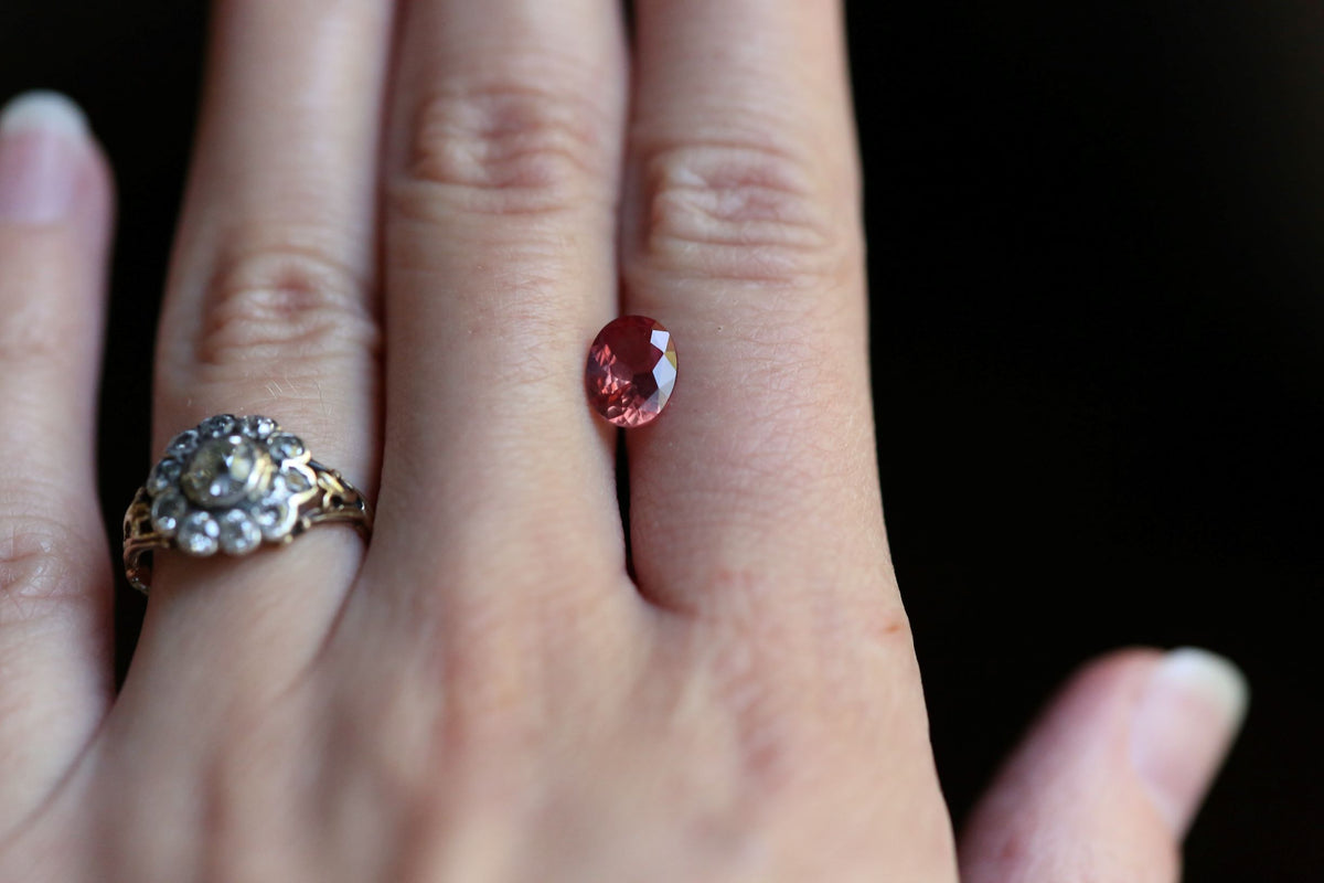 1.34 carats Vivid Berry Orange Oval Padparadscha Sapphire