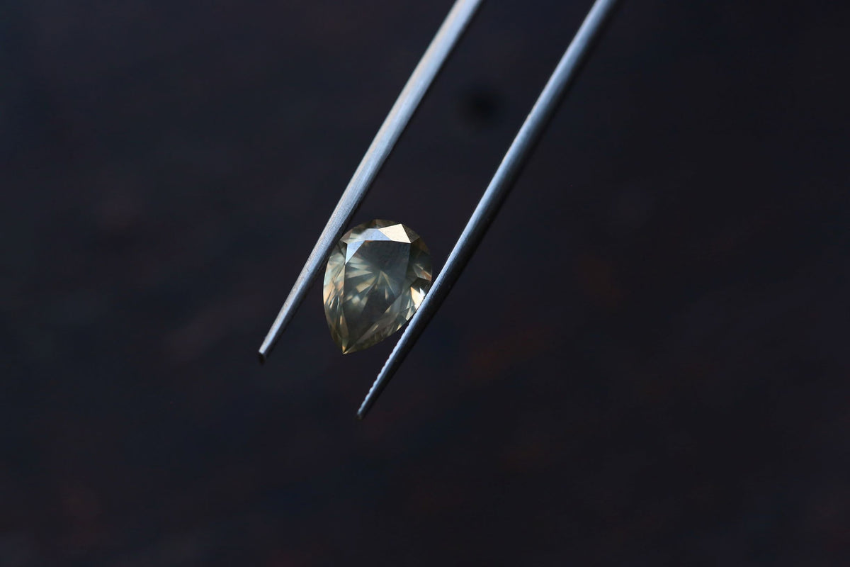3.01 carats Olive Gray Pear Cut Diamond