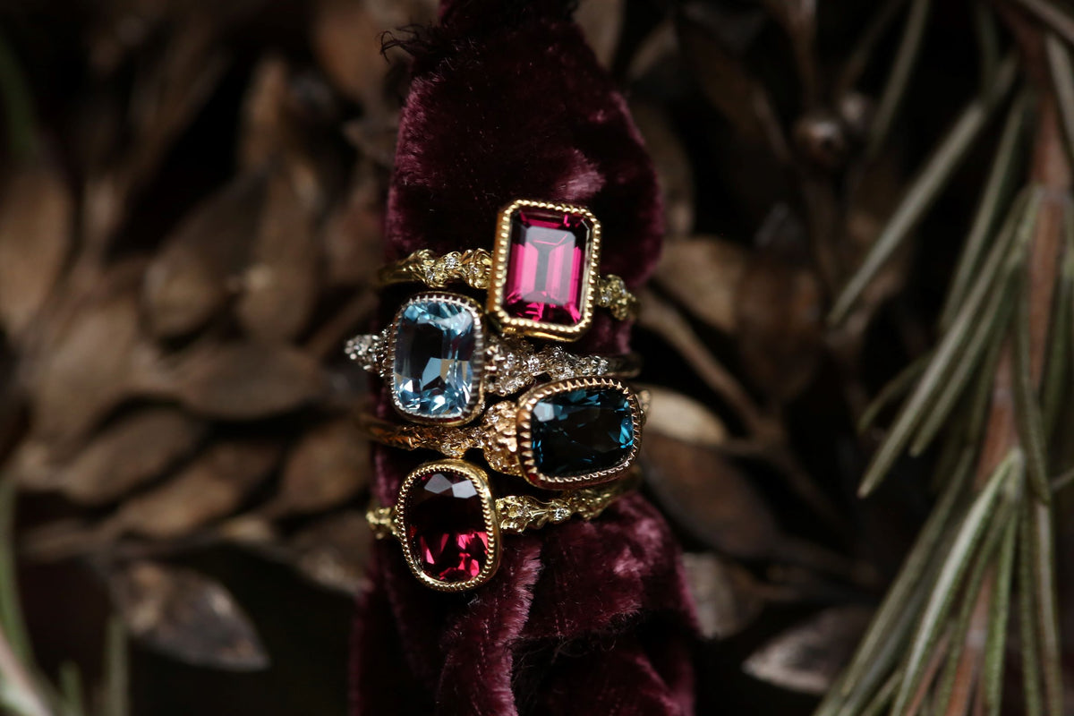The Cocooned Fable Luxe with Emerald Cut Rhodolite Garnet