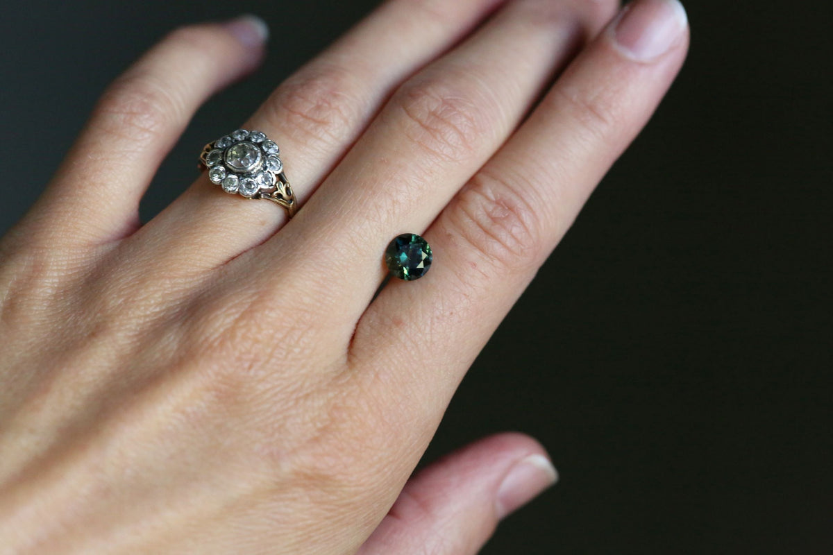 1.65 carats Forest Green Teal Round Sapphire