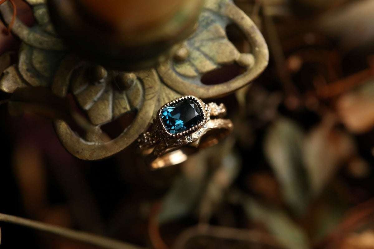 RESERVED The Cocooned Reverie Ring in London Blue Topaz