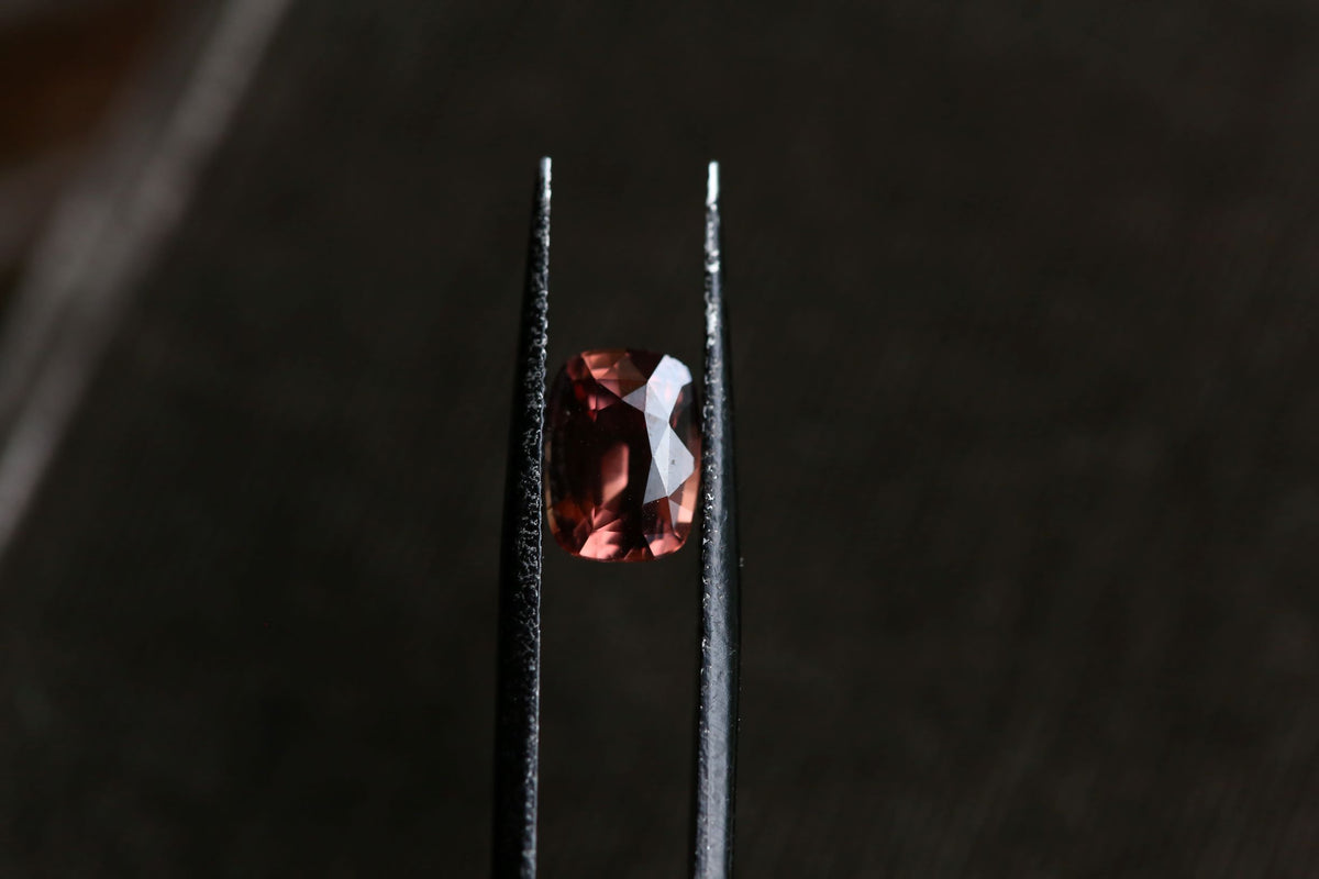 2.29 carats Whiskey Rose Cushion Cut Zircon