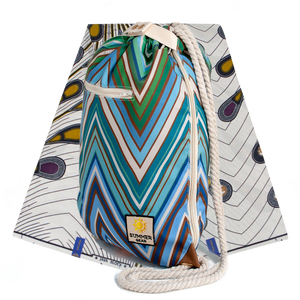 Ibora Beach Bag (Blue Zigzag)