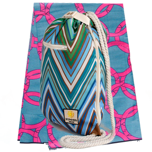 Ibora Beach Bag (Blue Zigzag) /blanket not included
