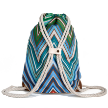 Load image into Gallery viewer, Ibora the  Beach Bag reimagined rear view ocean blue design