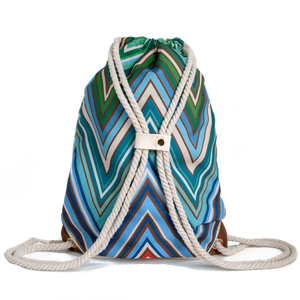 Ibora the  Beach Bag reimagined rear view ocean blue design
