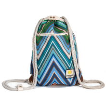 Load image into Gallery viewer, Ibora the  Beach Bag reimagined front view ocean blue design