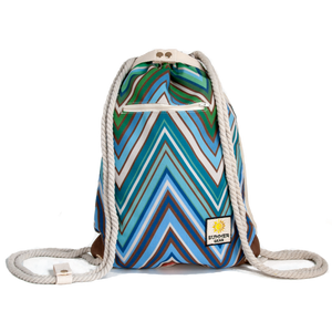 Ibora the  Beach Bag reimagined front view ocean blue design