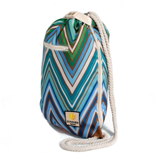 Load image into Gallery viewer, Ibora the  Beach Bag reimagined side view ocean blue design