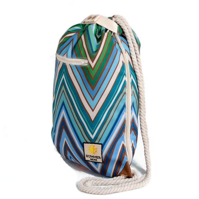 Ibora the  Beach Bag reimagined side view ocean blue design