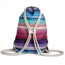 Load image into Gallery viewer, Ibora the  Beach Bag reimagined rear view striped design