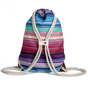 Ibora the  Beach Bag reimagined rear view striped design