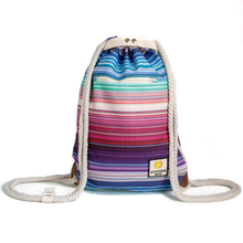 Load image into Gallery viewer, Ibora the  Beach Bag reimagined front view striped design