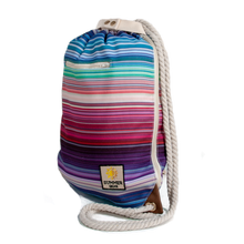Load image into Gallery viewer, Ibora the  Beach Bag reimagined side view striped design