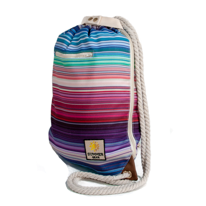 Ibora the  Beach Bag reimagined side view striped design
