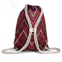 Load image into Gallery viewer, Ibora the  Beach Bag reimagined rear view Sunset red design