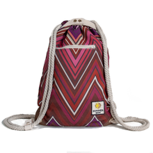 Load image into Gallery viewer, Ibora the  Beach Bag reimagined front view Sunset red design