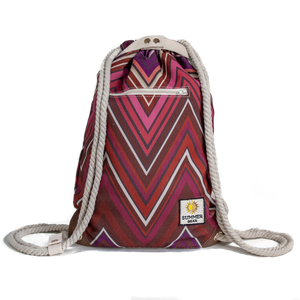 Ibora the  Beach Bag reimagined front view Sunset red design
