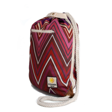 Load image into Gallery viewer, Ibora the  Beach Bag reimagined side view Sunset red design