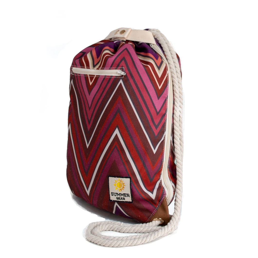 Ibora the  Beach Bag reimagined side view Sunset red design