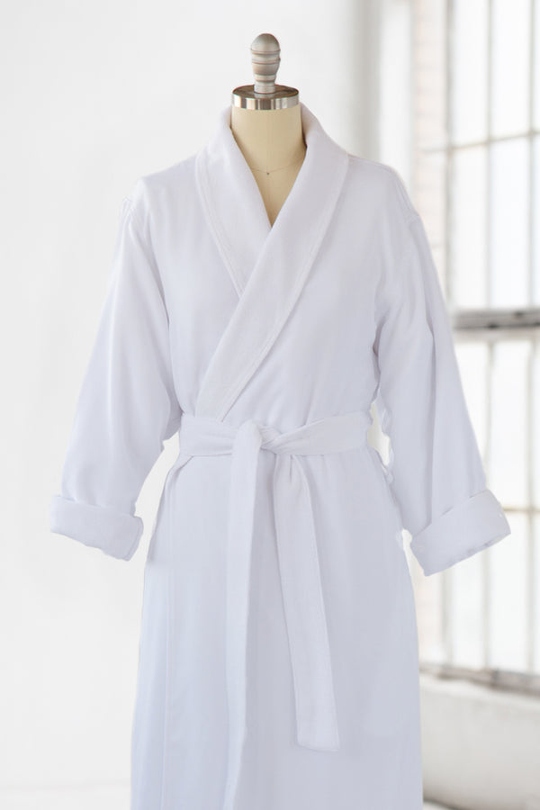 Simple Spa Robe - Terry Cloth & Microfiber - White