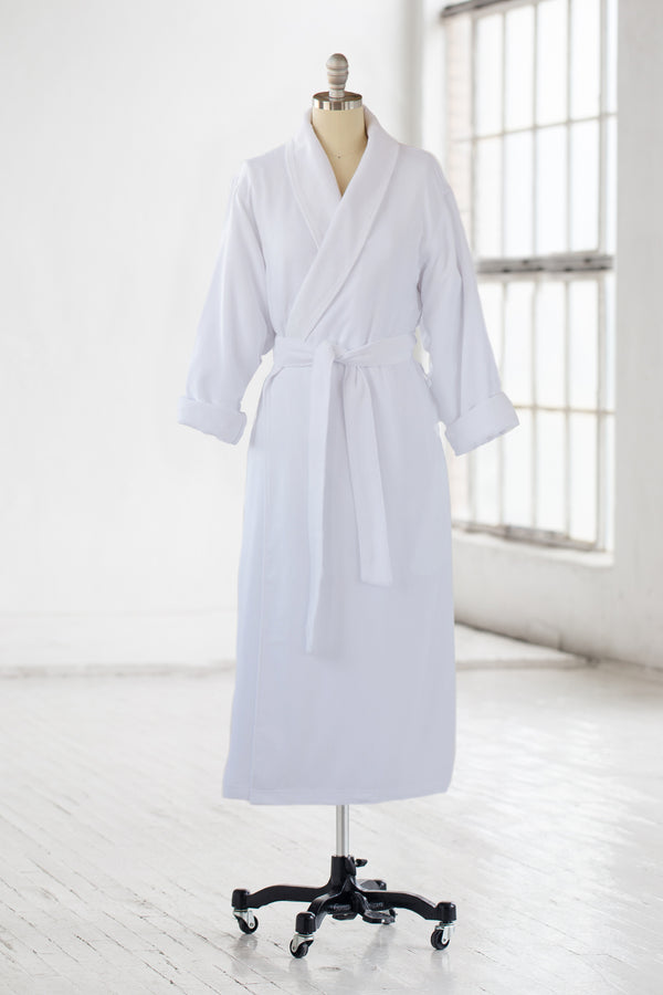 classic microfiber luxury spa robe in white with terry cloth liner and side slit pockets