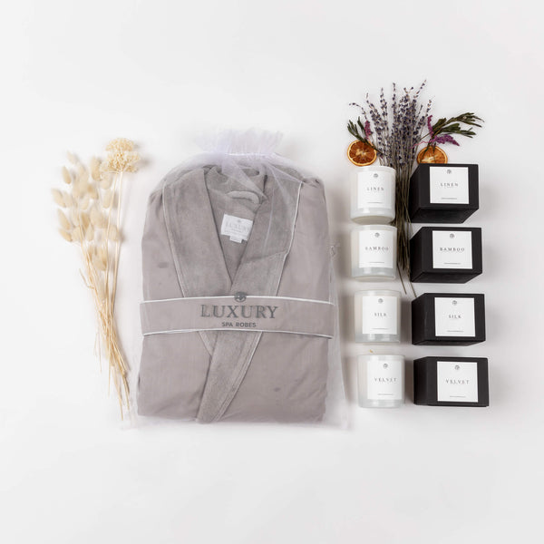 Plush Velour Spa Robe & Candle Gift Set