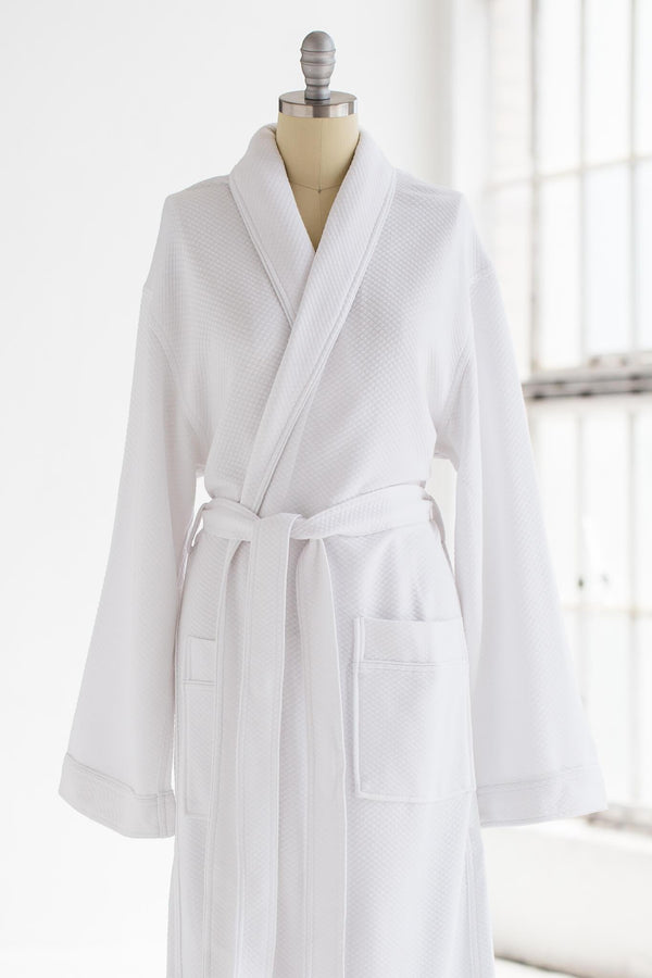 soft cotton modal luxury spa robe in white with long arms