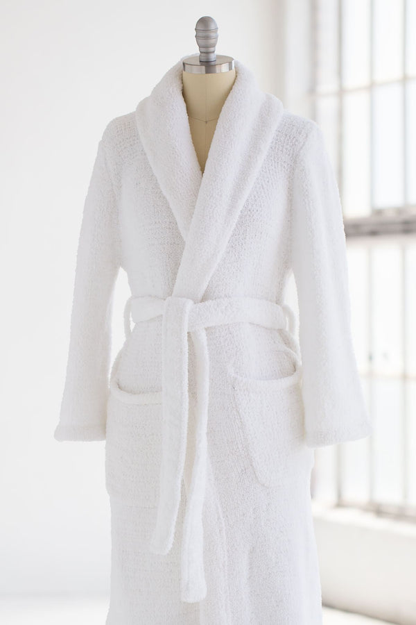 extra cozy and soft plush chenille luxury spa robe in white