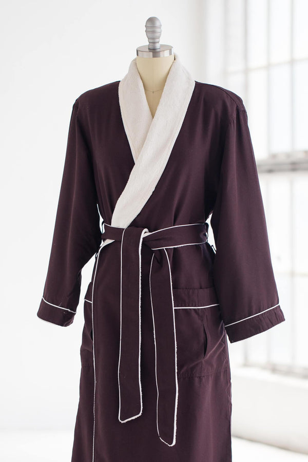 medium weight classic microfiber luxury spa robe in chocolate brown with creme plush liner