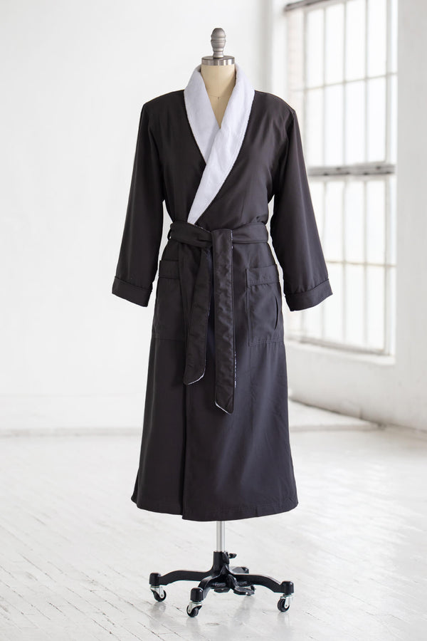 medium weight classic microfiber luxury spa robe in charcoal grey with white plush liner