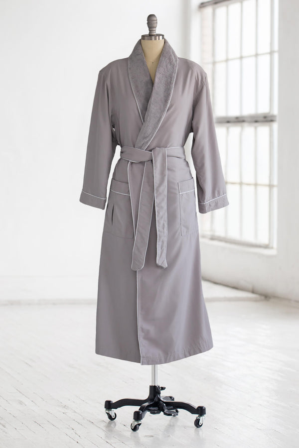 medium weight classic microfiber luxury spa robe in light grey with plush liner