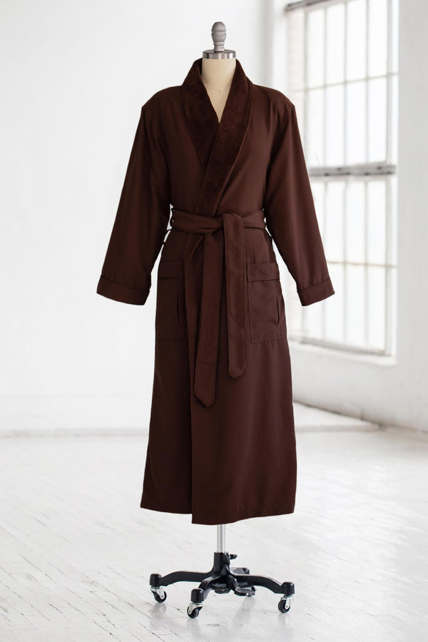 medium weight classic microfiber luxury spa robe in brown with plush liner