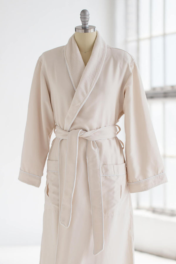 medium weight classic microfiber luxury spa robe in creme ivory with plush liner